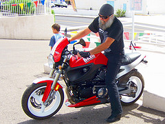 Older motorcycle rider